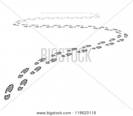detailed illustration of a shoe print trail, eps10 vector