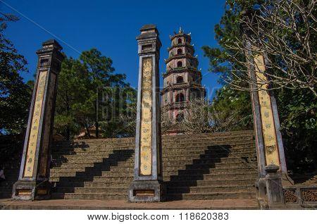 Hue,vietnam-5 January 2015: Thien Mu Pagoda. Unesco World Heritage Site.