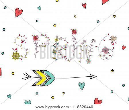 Floral elements of vintage. Phrase spring  in vector.