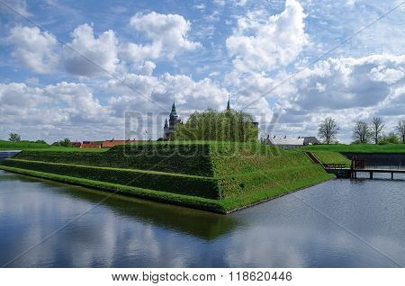 Renaissance Castle And Fortress Of Kronborg, Home Of Shakespeare's Hamlet. View To Moat And Walls Of