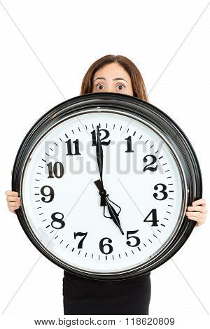 Woman Late And Showing The Time With Shocked Eyes