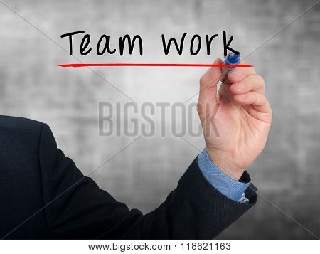 Team Work Concept Businessman Hand Writing Team Work