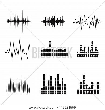 Sound Wave Icon Set. Music soundwave icons set. Equalize audio and stereo sound, wave, melody. Vecto