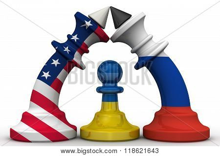 Ukraine - a pawn in the geopolitical game. Chess pieces - kings in the colors of flags of Russia and