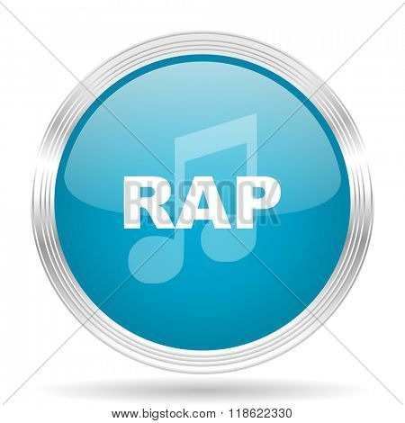 rap music blue glossy metallic circle modern web icon on white background