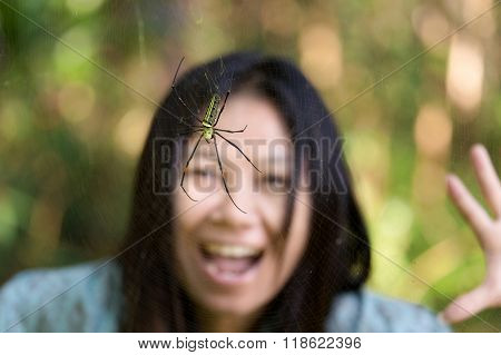 Woman surprised to see a tropical golden orb spider, Thailand