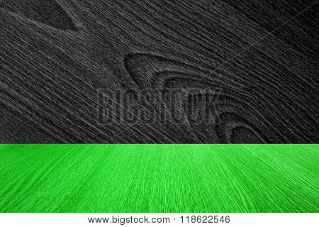 Business background / backdrop for products, design or text space - dark wood grain and green wood pattern.