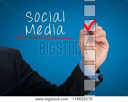 Businessman Hand Writing Social Media And Check Listing Task