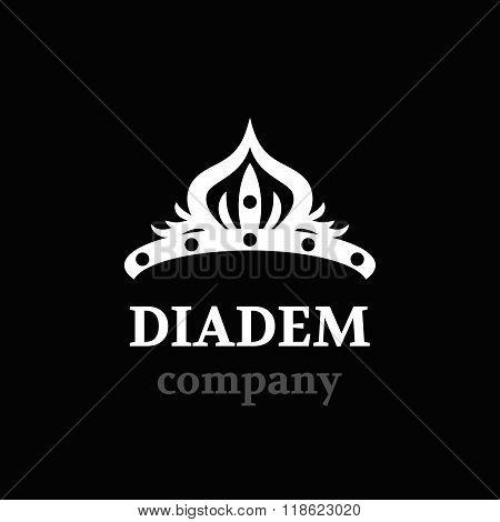 Diadem vector silhouette icon. Diadem logo company.