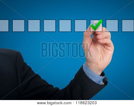 Businessman Checking Mark Checklist Marker Isolated On Blue Background