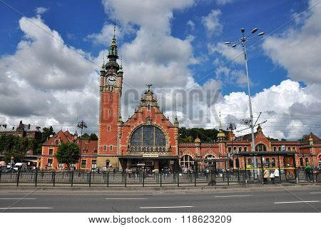 GDANSK POLAND - JUNE 20: Old beautiful train station on June 20 2015 in Gdansk Poland. The station building hails from the end of the 19th century.