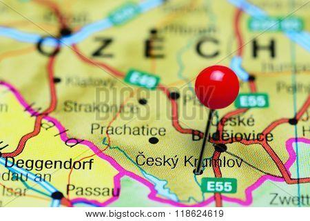 Cesky Krumlov pinned on a map of Czech Republic