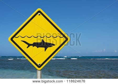 Yellow Shark Warning Sign