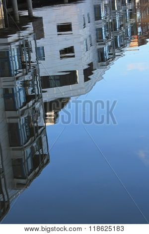 Regents Canal, London- buildings reflected in the water