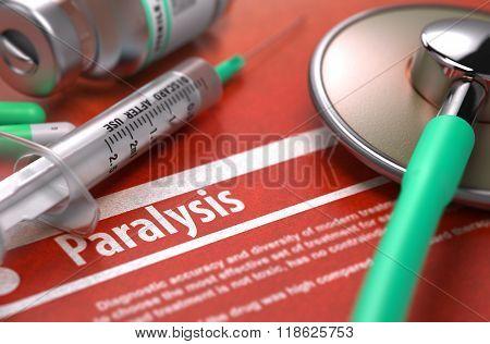 Paralysis - Printed Diagnosis on Orange Background.
