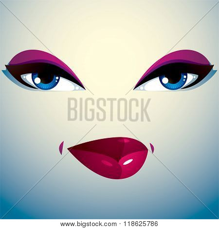 Coquette Woman Eyes And Lips, Stylish Makeup. People Facial Emotions, Sly And Tricky.