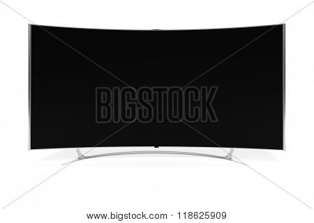 An image of a big curved widescreen television