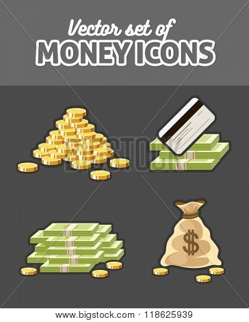 Set of icons with money cash coins sack and bank card vector illustration
