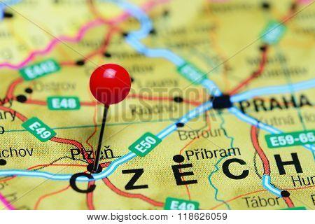 Plzen pinned on a map of Czech Republic