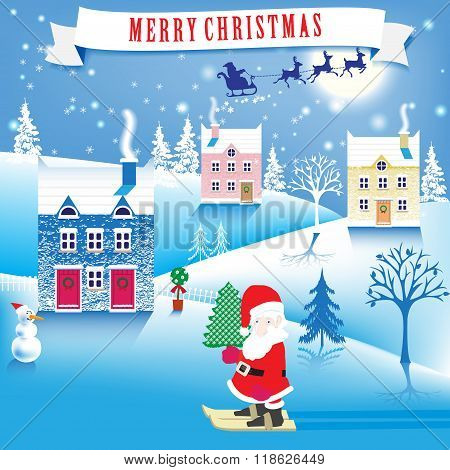 lovely Christmas, winter landscape. Gnome with Christmas tree. vector illustration