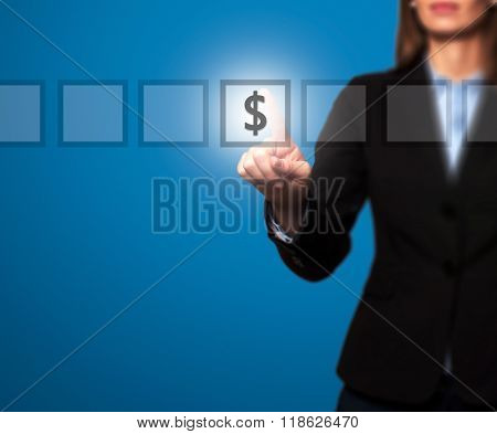 Businesswoman Hand Press Dollar Icon Button On Visual Screen