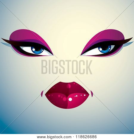 Parts Of The Face Of A Young Beautiful Lady With A Bright Make-up, Lips And Eyes. People Facial Expr