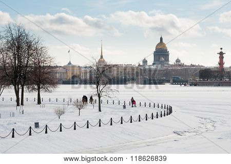 View Of St. Isaac's Cathedral And Neva River In Winter