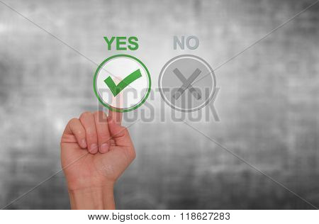 Hand Choose Yes On Virtual Screen