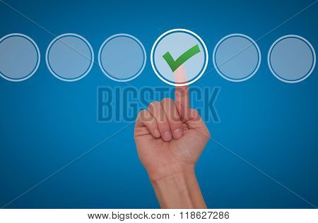 Young Male Hand Touching, Pressing Modern Button And Ticking Check Box Out Of Empty Boxes On Digital
