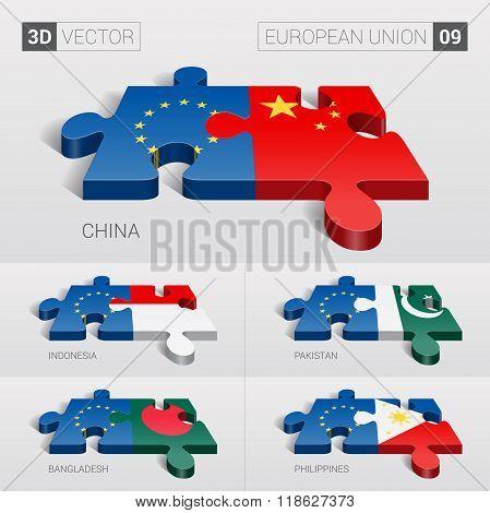 European Union Flag. 3d vector puzzle. Set 0