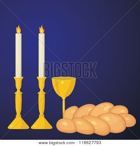 Jewish Traditional. Sabbath Candles, Kiddush Cup And Challah.
