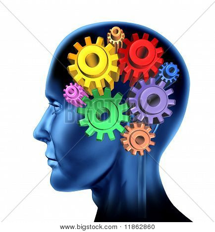 intelligence brain function mind with  gears.