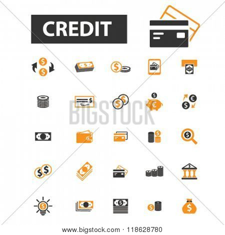 credit icons, credit logo, investment icons vector, investment flat illustration concept, investment infographics elements isolated on white background, investment  logo, investment symbols set, money
