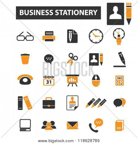 office icons, office logo, supply icons vector, supply flat illustration concept, supply infographics elements isolated on white background, supply logo, supply symbols set, business stationery