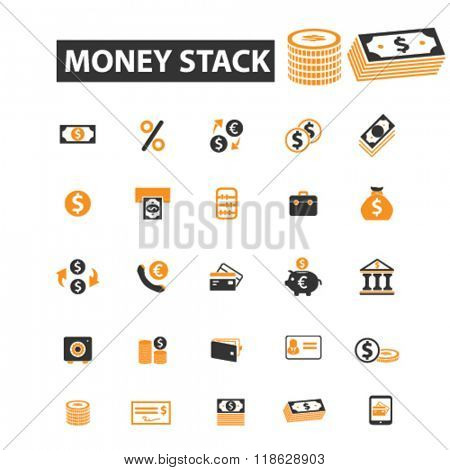 money stack icons, money stack logo, finance icons vector, finance flat illustration concept, finance infographics elements isolated on white background, finance logo, finance symbols set, cash, pile