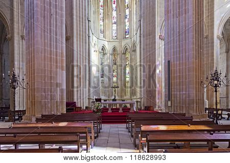 Batalha, Portugal - March, 2015: Batalha Monastery. The Altar and Apse of the Church. Gothic and Manueline masterpiece. Portugal. UNESCO World Heritage Site.