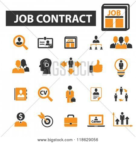 job contract icons, job contract logo, work icons vector, work flat illustration concept, work infographics elements isolated on white background, work logo, work symbols set, employment, hiring
