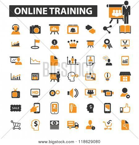 online training icons, online training logo, online education icons vector, online education flat illustration concept, online education logo, online education symbols set
