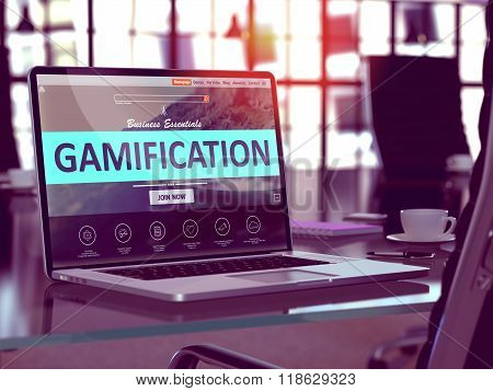 Gamification Concept on Laptop Screen.