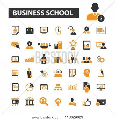 business school icons, business education icons vector, business education flat illustration concept, business education logo, business education symbols set, business education