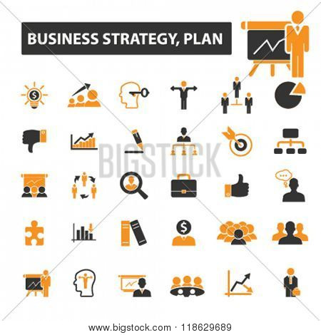 business plan icons, business plan logo, strategy icons vector, strategy flat illustration concept, strategy infographics elements isolated on white background, strategy logo, strategy symbols set