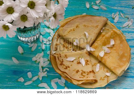Shrove Tuesday, Pancake Day, Breakfast, Top View, A Bouquet Of Daisies