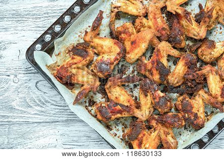 Chicken Wings Roasted In Baking Tray With Copy Space