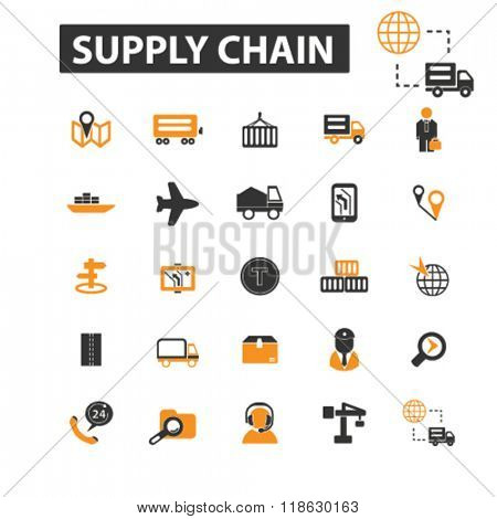 supply chain icons, supply chain logo, delivery icons vector, delivery flat illustration concept, delivery infographics elements isolated on white background, delivery logo, delivery symbols set