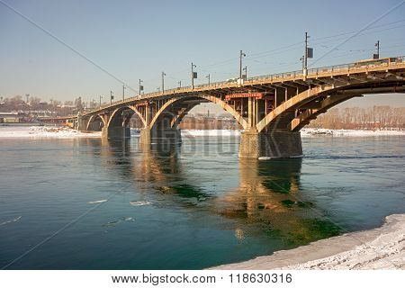 Old Reinforced Concrete Glazkovsky Bridge Built In 1931-1936 Years Across The River Angara In Town I