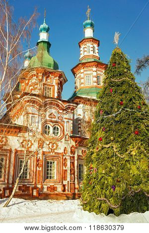Kresto-vozdvigenskiy Church In Irkutsk At Christmas