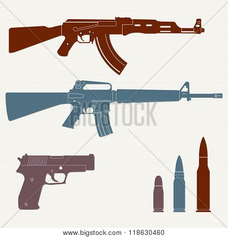 Weapons and military set. Sub machine gun, pistol and bullet icons. Vector.