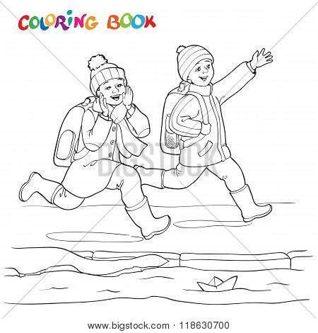 Coloring Book Or Page. Two Joyful Boy Running Along The Puddles Of Paper Boats.