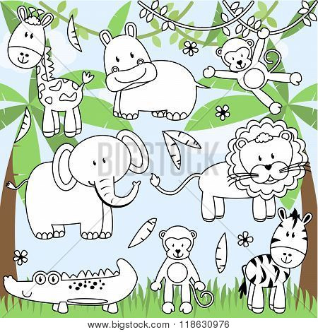 Vector Collection of Cartoon Zoo Animals in Line Art