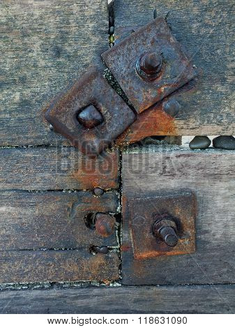 Weathered bolted wood